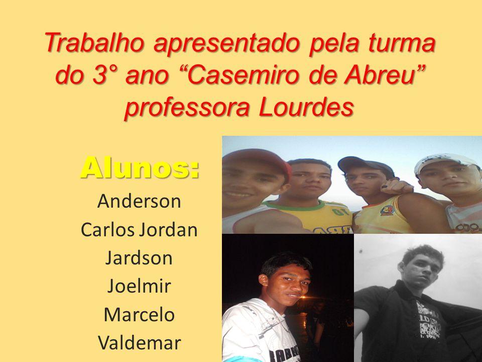 Trabalho apresentado pela turma do 3° ano Casemiro de Abreu professora Lourdes Alunos: Anderson Carlos Jordan Jardson Joelmir Marcelo Valdemar