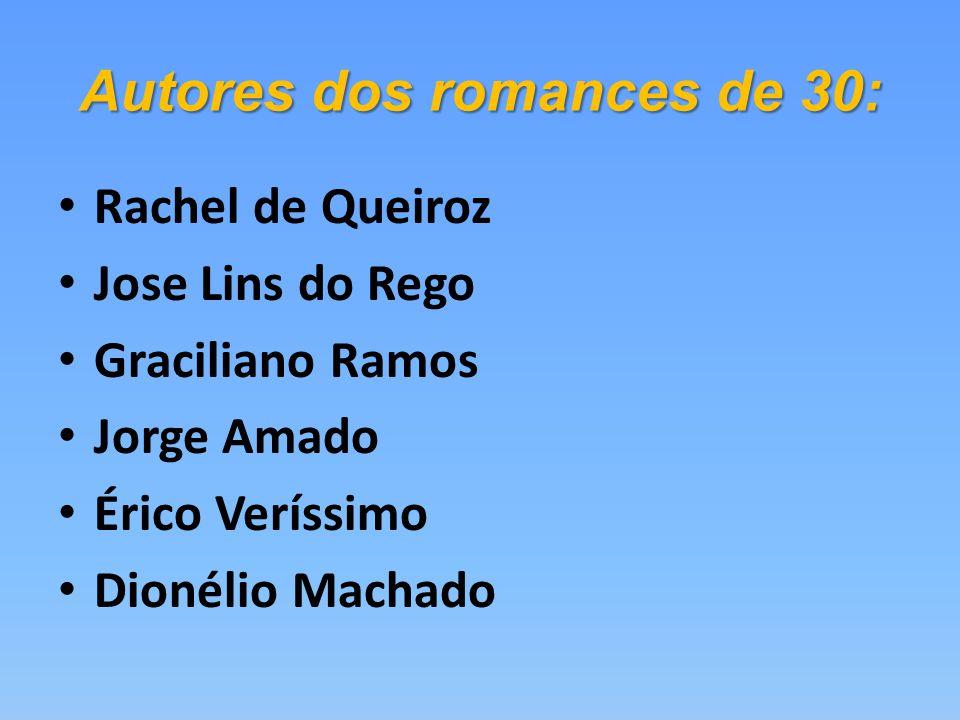 Autores dos romances de 30: Rachel de Queiroz Jose Lins do Rego Graciliano Ramos Jorge Amado Érico Veríssimo Dionélio Machado