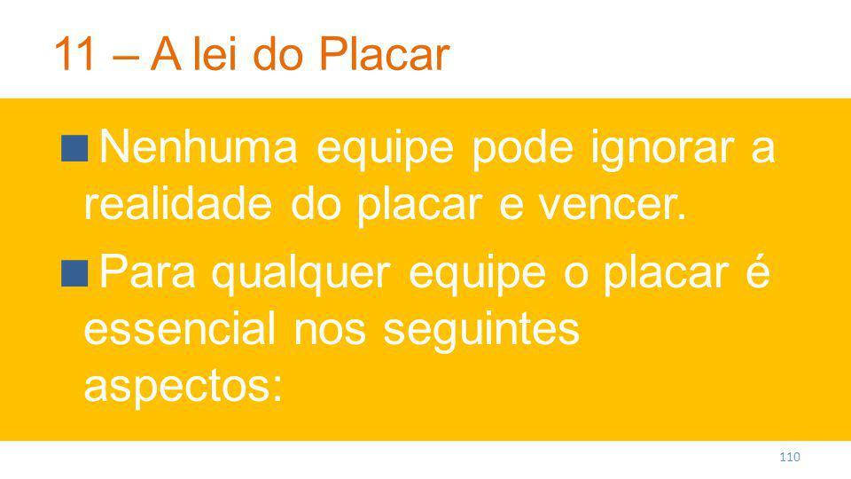 11 – A lei do Placar Nenhuma equipe pode ignorar a realidade do placar e vencer.