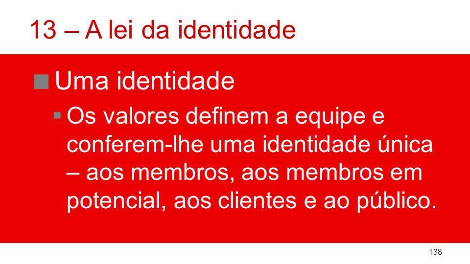 13 – A lei da identidade Uma identidade Os valores definem a equipe e conferem-lhe uma identidade única – aos membros, aos membros em potencial, aos clientes e ao público.