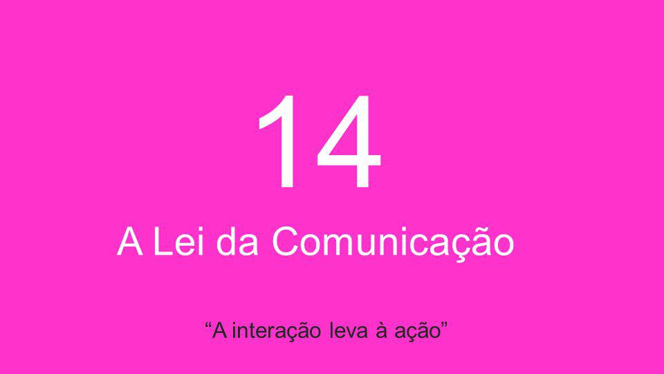 14 A Lei da Comunicação A interação leva à ação