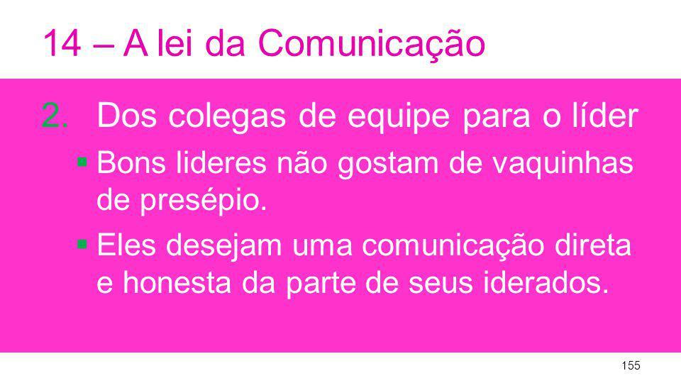 14 – A lei da Comunicação 2.Dos colegas de equipe para o líder Bons lideres não gostam de vaquinhas de presépio.