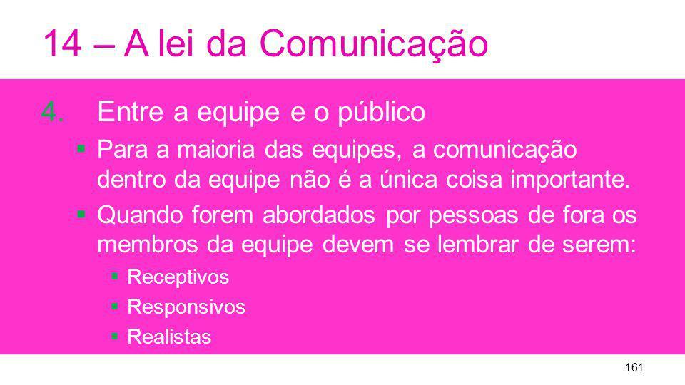 14 – A lei da Comunicação 4.Entre a equipe e o público Para a maioria das equipes, a comunicação dentro da equipe não é a única coisa importante.