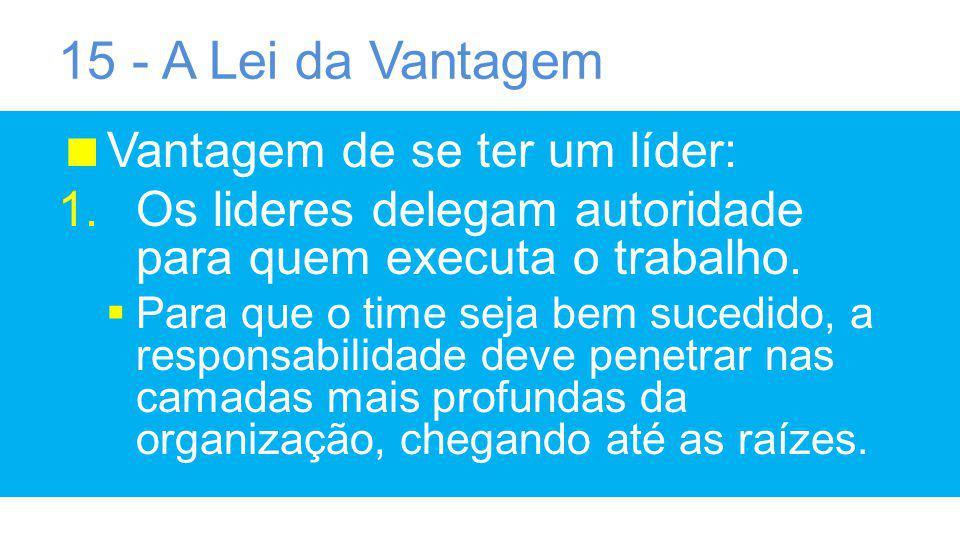 15 - A Lei da Vantagem Vantagem de se ter um líder: 1.Os lideres delegam autoridade para quem executa o trabalho.