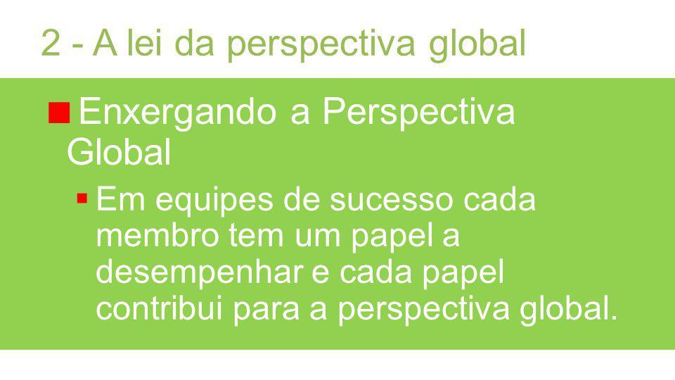 2 - A lei da perspectiva global Enxergando a Perspectiva Global Em equipes de sucesso cada membro tem um papel a desempenhar e cada papel contribui para a perspectiva global.