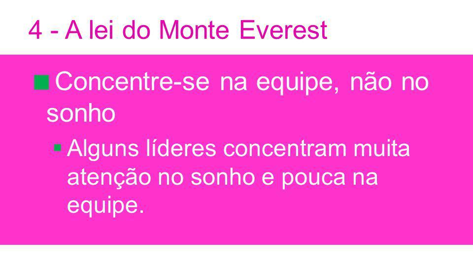4 - A lei do Monte Everest Concentre-se na equipe, não no sonho Alguns líderes concentram muita atenção no sonho e pouca na equipe.