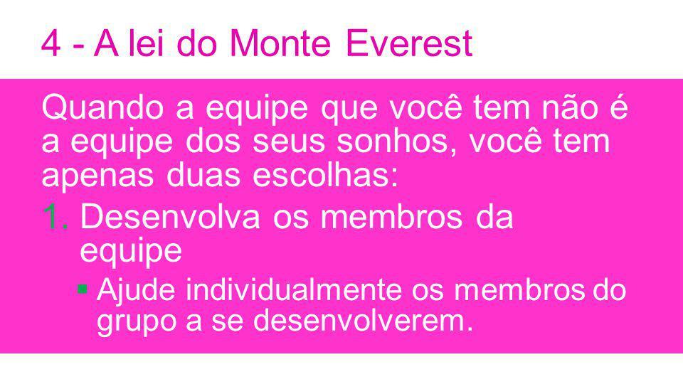 4 - A lei do Monte Everest Quando a equipe que você tem não é a equipe dos seus sonhos, você tem apenas duas escolhas: 1.Desenvolva os membros da equipe Ajude individualmente os membros do grupo a se desenvolverem.