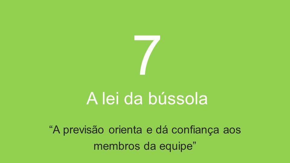 7 A lei da bússola A previsão orienta e dá confiança aos membros da equipe