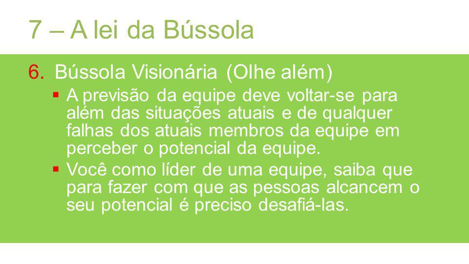 7 – A lei da Bússola 6.Bússola Visionária (Olhe além) A previsão da equipe deve voltar-se para além das situações atuais e de qualquer falhas dos atuais membros da equipe em perceber o potencial da equipe.