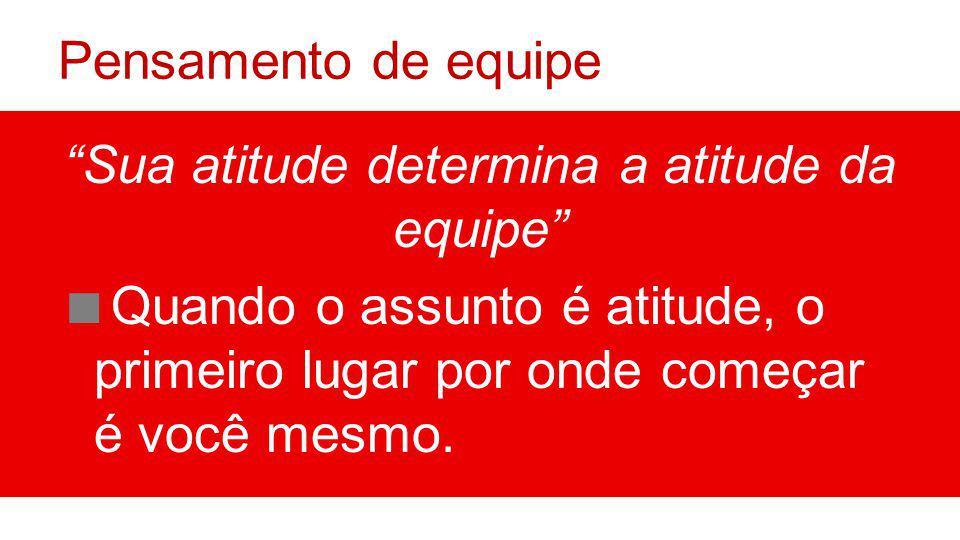 Pensamento de equipe Sua atitude determina a atitude da equipe Quando o assunto é atitude, o primeiro lugar por onde começar é você mesmo.