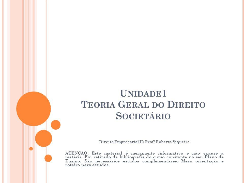 U NIDADE 1 T EORIA G ERAL DO D IREITO S OCIETÁRIO Direito Empresarial II/ Profª Roberta Siqueira ATENÇÃO: Este material é meramente informativo e não