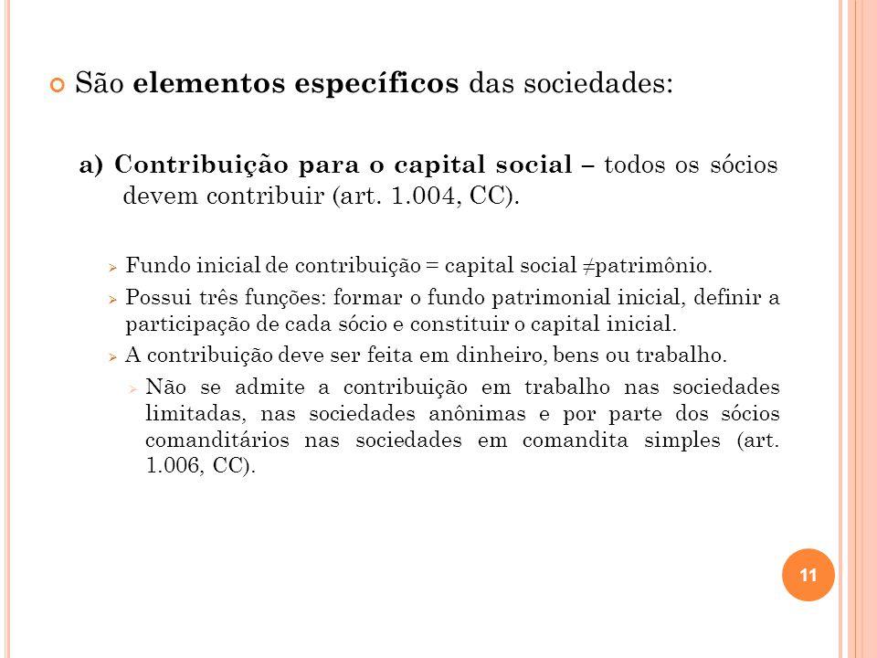 São elementos específicos das sociedades: a) Contribuição para o capital social – todos os sócios devem contribuir (art. 1.004, CC). Fundo inicial de