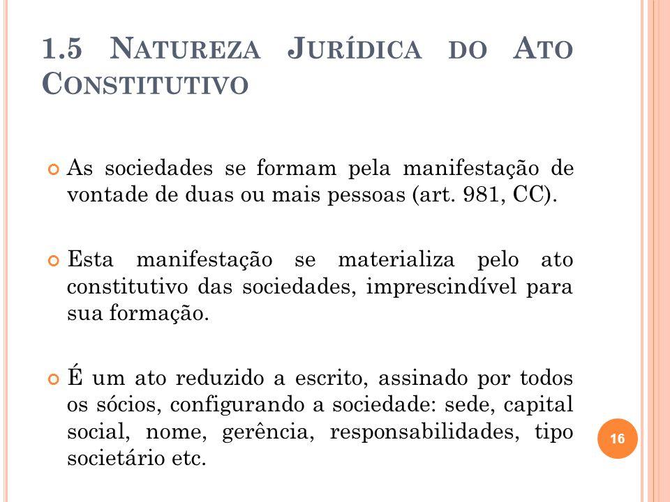 1.5 N ATUREZA J URÍDICA DO A TO C ONSTITUTIVO As sociedades se formam pela manifestação de vontade de duas ou mais pessoas (art. 981, CC). Esta manife