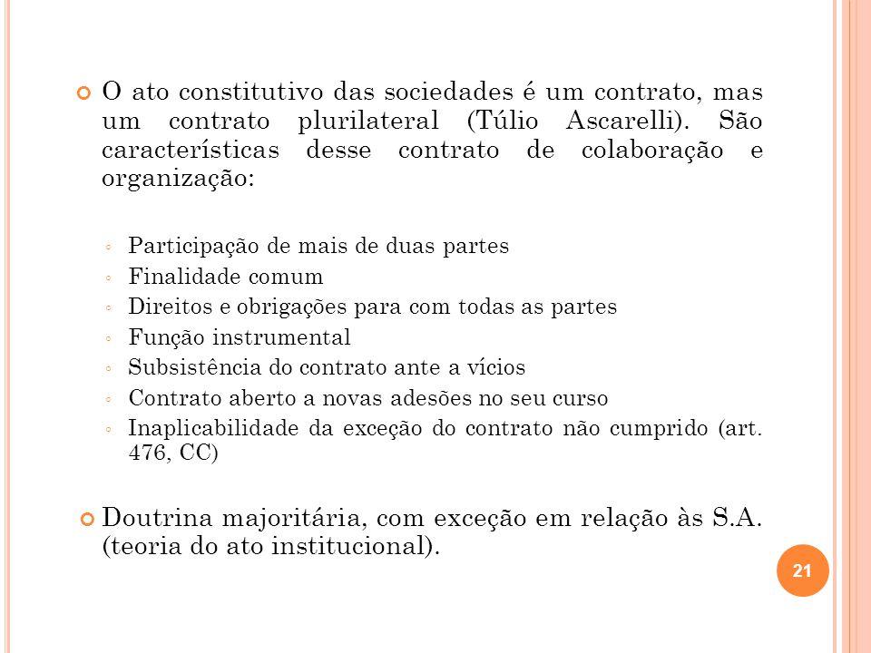 O ato constitutivo das sociedades é um contrato, mas um contrato plurilateral (Túlio Ascarelli). São características desse contrato de colaboração e o