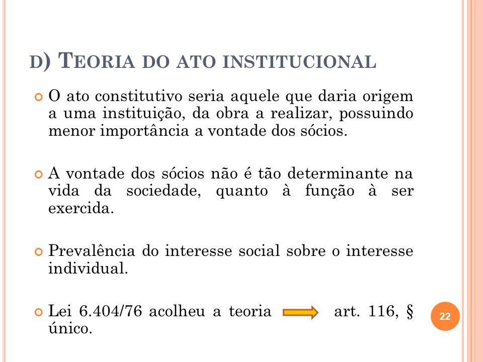 D ) T EORIA DO ATO INSTITUCIONAL O ato constitutivo seria aquele que daria origem a uma instituição, da obra a realizar, possuindo menor importância a