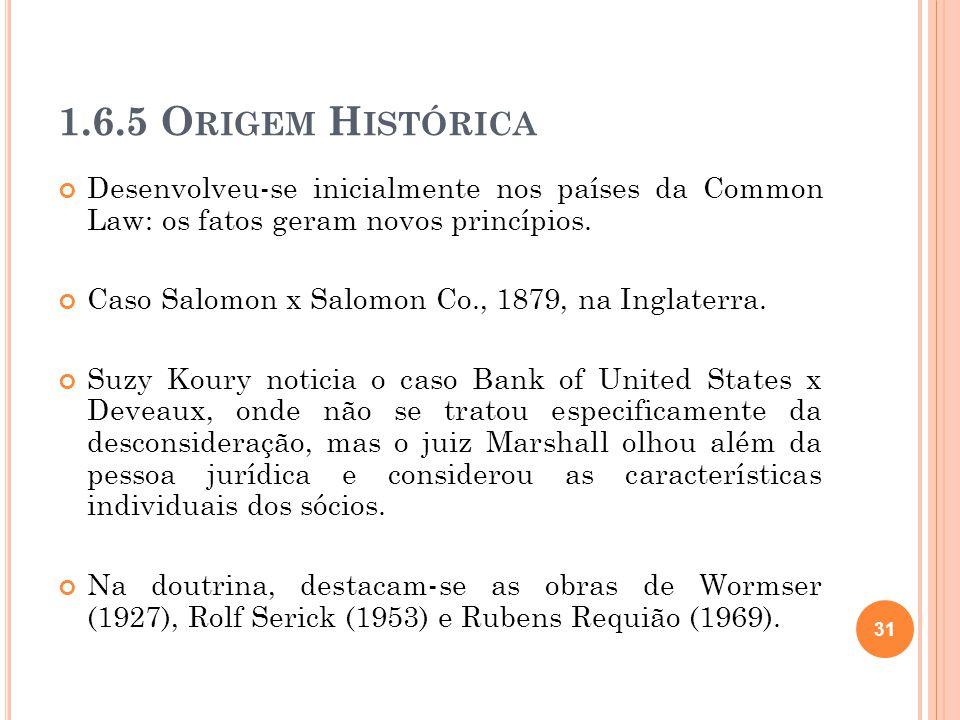 1.6.5 O RIGEM H ISTÓRICA Desenvolveu-se inicialmente nos países da Common Law: os fatos geram novos princípios. Caso Salomon x Salomon Co., 1879, na I
