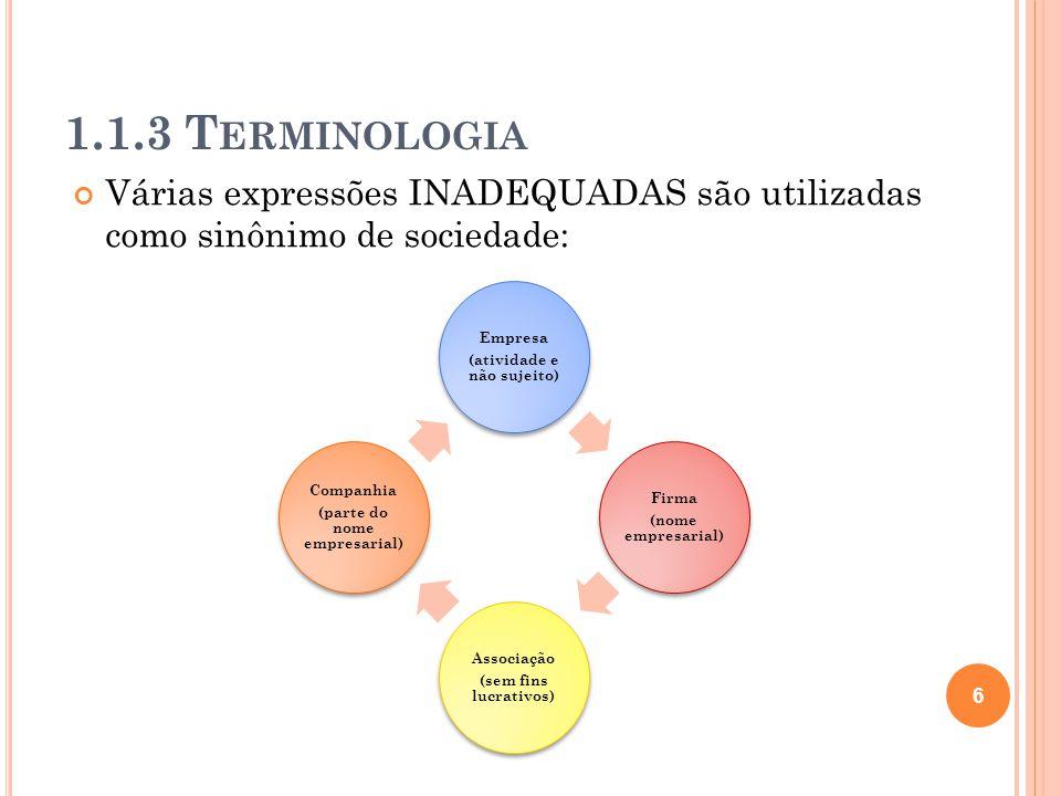 1.1.3 T ERMINOLOGIA Várias expressões INADEQUADAS são utilizadas como sinônimo de sociedade: 6 Empresa (atividade e não sujeito) Firma (nome empresari