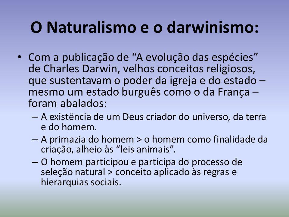 O Naturalismo e o darwinismo: Com a publicação de A evolução das espécies de Charles Darwin, velhos conceitos religiosos, que sustentavam o poder da i