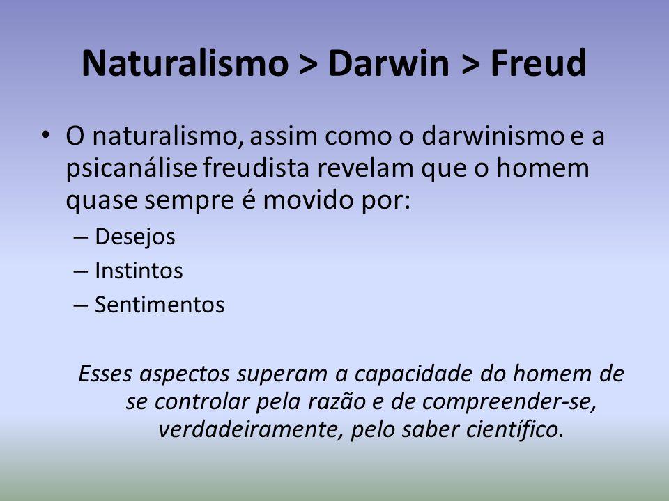 Naturalismo > Darwin > Freud O naturalismo, assim como o darwinismo e a psicanálise freudista revelam que o homem quase sempre é movido por: – Desejos