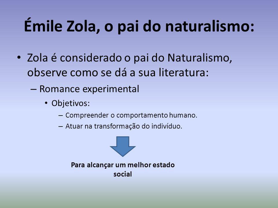 Émile Zola, o pai do naturalismo: Zola é considerado o pai do Naturalismo, observe como se dá a sua literatura: – Romance experimental Objetivos: – Co