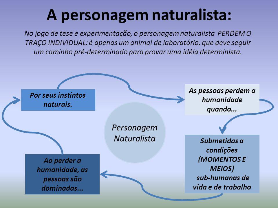 A personagem naturalista: Personagem Naturalista No jogo de tese e experimentação, o personagem naturalista PERDEM O TRAÇO INDIVIDUAL: é apenas um ani
