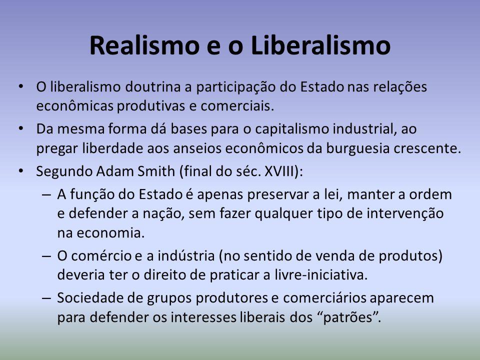Realismo e o Liberalismo O liberalismo doutrina a participação do Estado nas relações econômicas produtivas e comerciais. Da mesma forma dá bases para