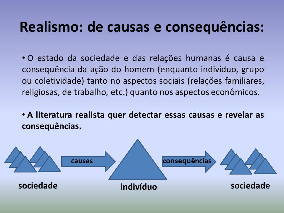 Realismo: de causas e consequências: causas consequências sociedade indivíduo sociedade O estado da sociedade e das relações humanas é causa e consequ