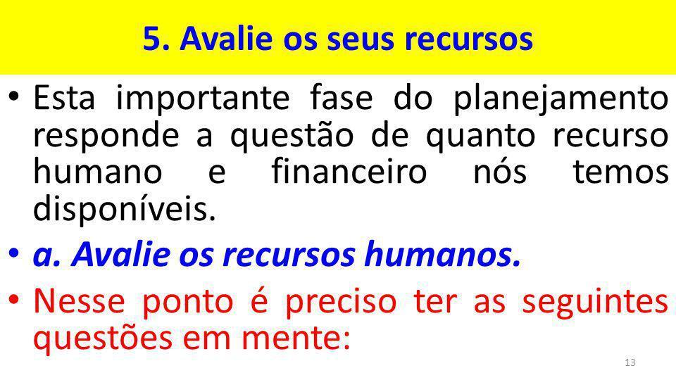 5. Avalie os seus recursos Esta importante fase do planejamento responde a questão de quanto recurso humano e financeiro nós temos disponíveis. a. Ava