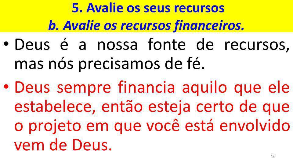 5.Avalie os seus recursos b. Avalie os recursos financeiros.