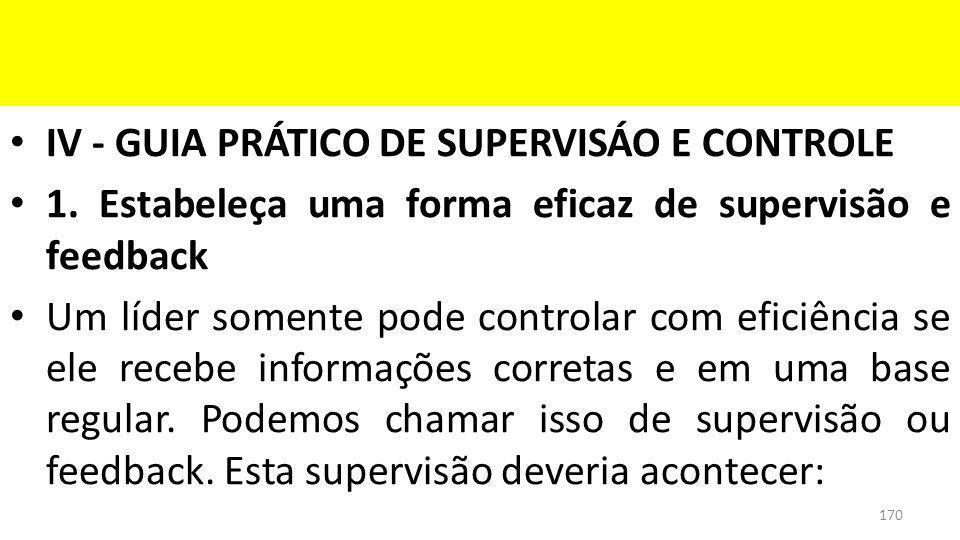 IV - GUIA PRÁTICO DE SUPERVISÁO E CONTROLE 1.