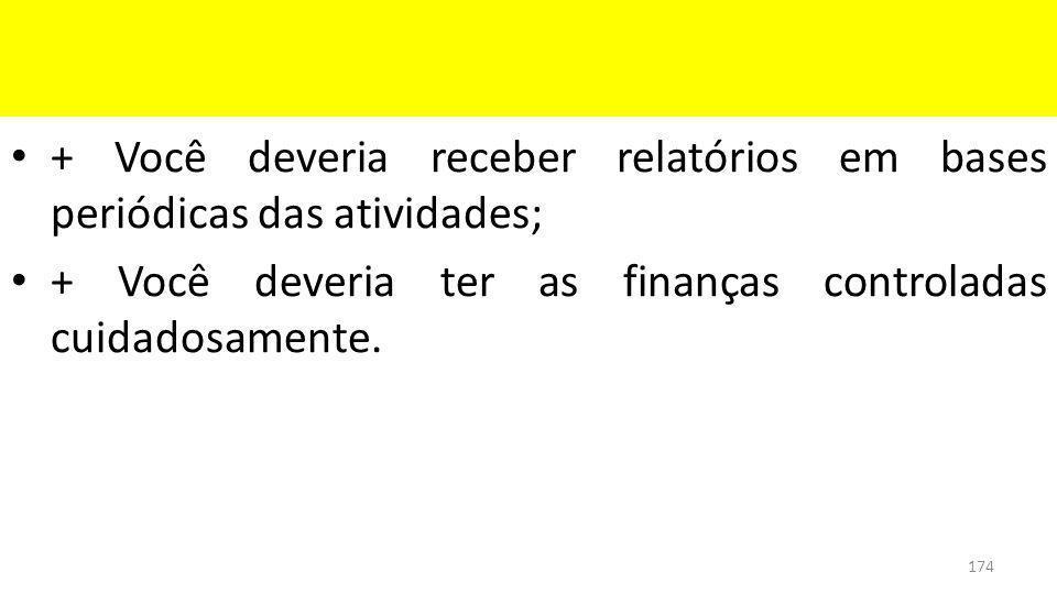 + Você deveria receber relatórios em bases periódicas das atividades; + Você deveria ter as finanças controladas cuidadosamente.