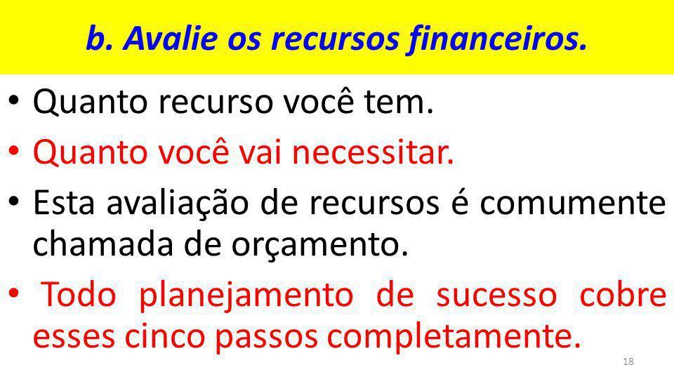 b.Avalie os recursos financeiros. Quanto recurso você tem.