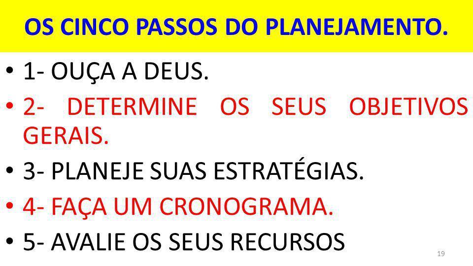OS CINCO PASSOS DO PLANEJAMENTO.1- OUÇA A DEUS. 2- DETERMINE OS SEUS OBJETIVOS GERAIS.
