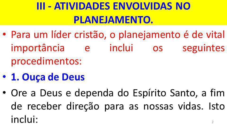 III - ATIVIDADES ENVOLVIDAS NO PLANEJAMENTO.