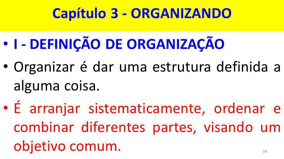 Capítulo 3 - ORGANIZANDO I - DEFINIÇÃO DE ORGANIZAÇÃO Organizar é dar uma estrutura definida a alguma coisa.