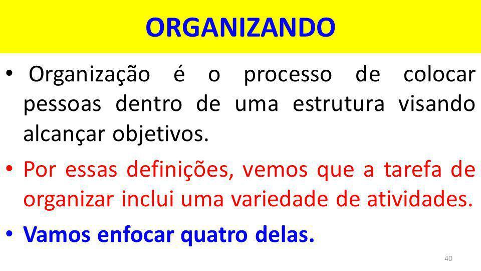 ORGANIZANDO Organização é o processo de colocar pessoas dentro de uma estrutura visando alcançar objetivos.