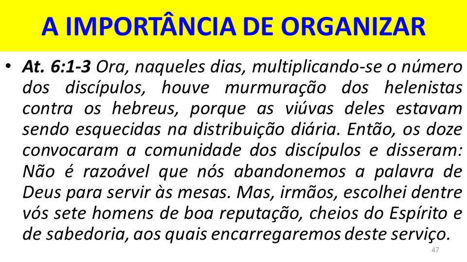 A IMPORTÂNCIA DE ORGANIZAR At.