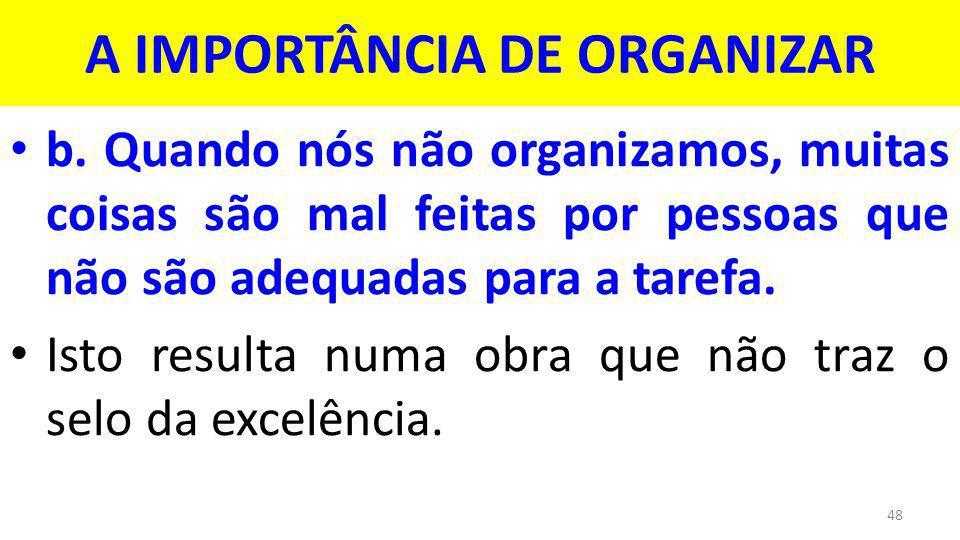 A IMPORTÂNCIA DE ORGANIZAR b.