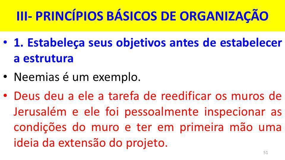 III- PRINCÍPIOS BÁSICOS DE ORGANIZAÇÃO 1.