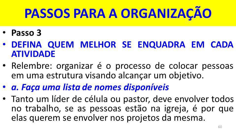 PASSOS PARA A ORGANIZAÇÃO Passo 3 DEFINA QUEM MELHOR SE ENQUADRA EM CADA ATIVIDADE Relembre: organizar é o processo de colocar pessoas em uma estrutura visando alcançar um objetivo.