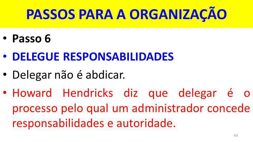 PASSOS PARA A ORGANIZAÇÃO Passo 6 DELEGUE RESPONSABILIDADES Delegar não é abdicar.