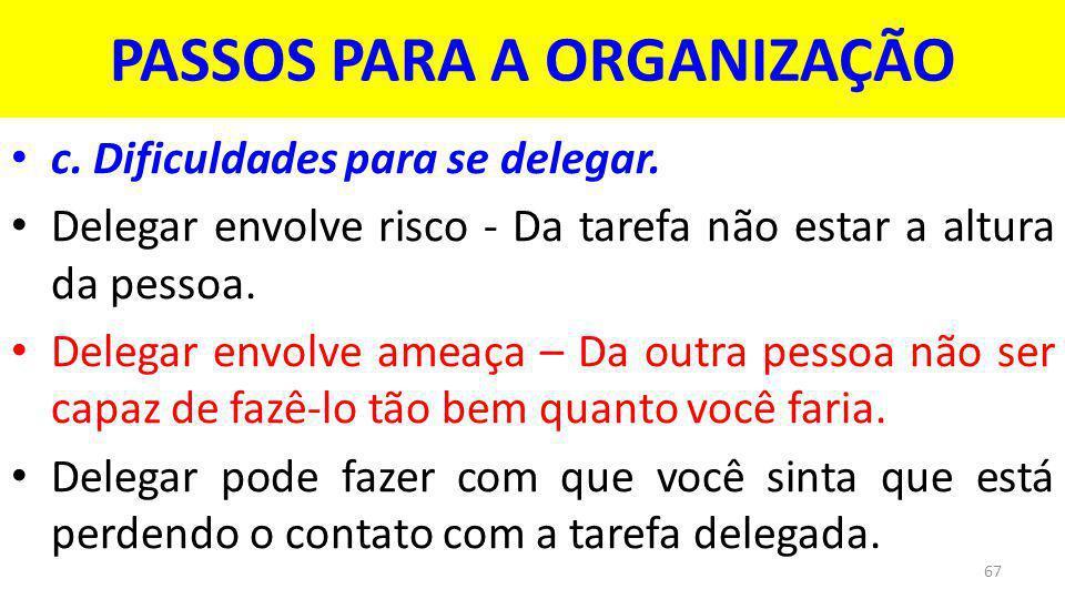 PASSOS PARA A ORGANIZAÇÃO c.Dificuldades para se delegar.