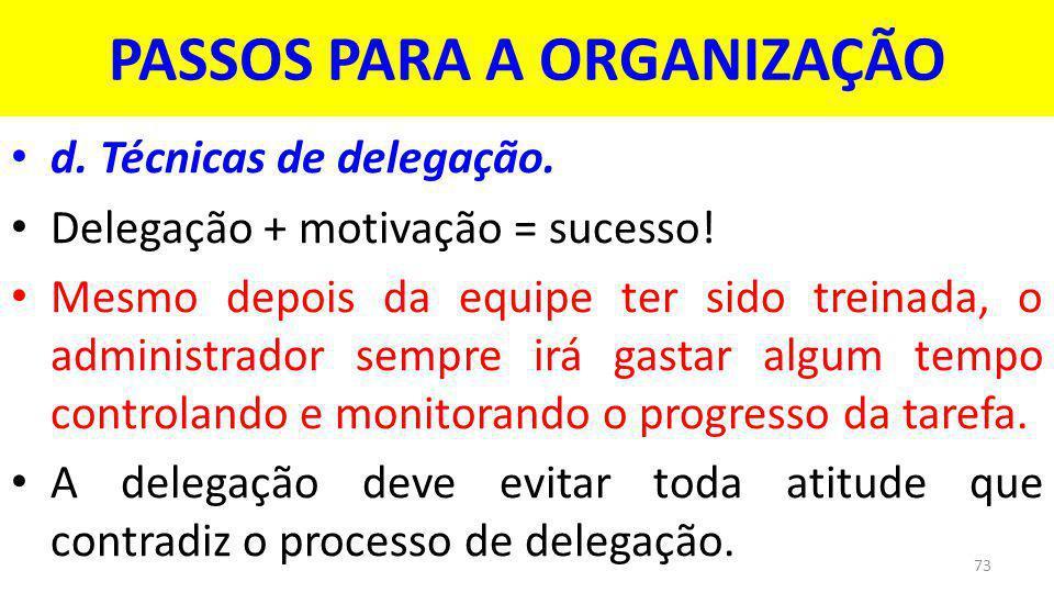 PASSOS PARA A ORGANIZAÇÃO d.Técnicas de delegação.