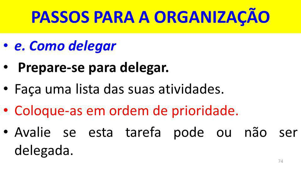 PASSOS PARA A ORGANIZAÇÃO e.Como delegar Prepare-se para delegar.