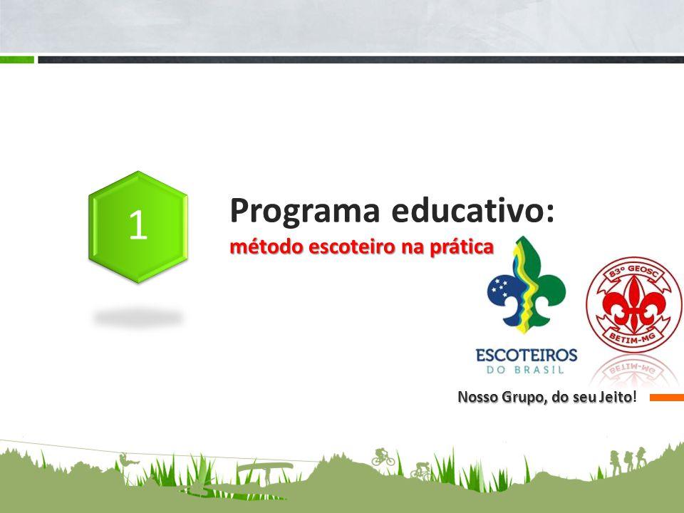método escoteiro na prática Programa educativo: método escoteiro na prática Nosso Grupo, do seu Jeito Nosso Grupo, do seu Jeito!