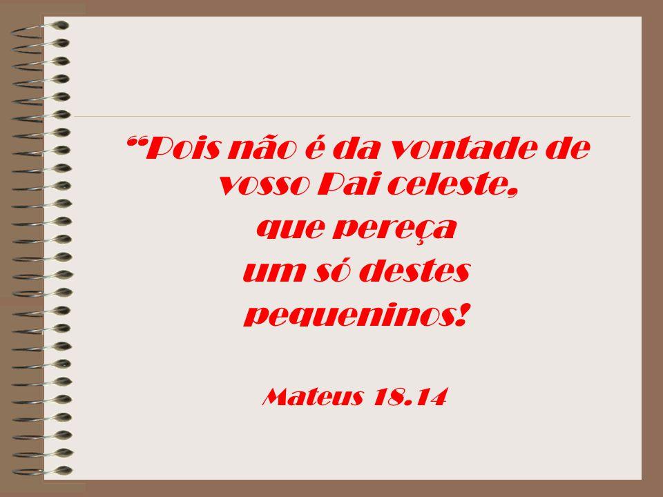 Pois não é da vontade de vosso Pai celeste, que pereça um só destes pequeninos! Mateus 18.14