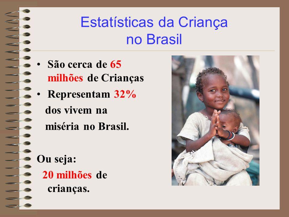 São cerca de 65 milhões de Crianças Representam 32% dos vivem na miséria no Brasil. Ou seja: 20 milhões de crianças.