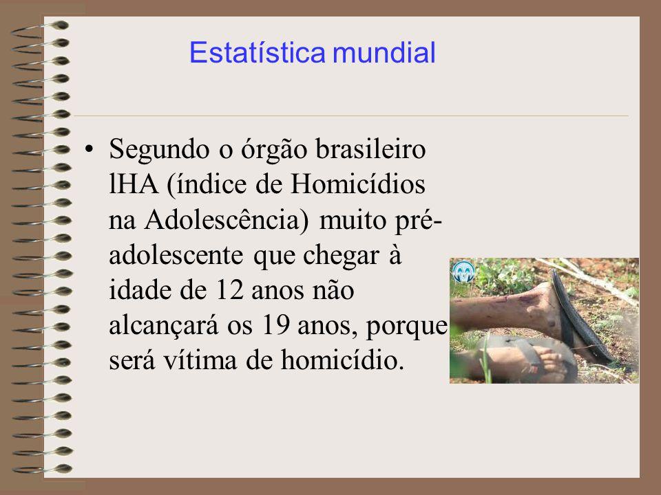 Segundo o órgão brasileiro lHA (índice de Homicídios na Adolescência) muito pré- adolescente que chegar à idade de 12 anos não alcançará os 19 anos, p