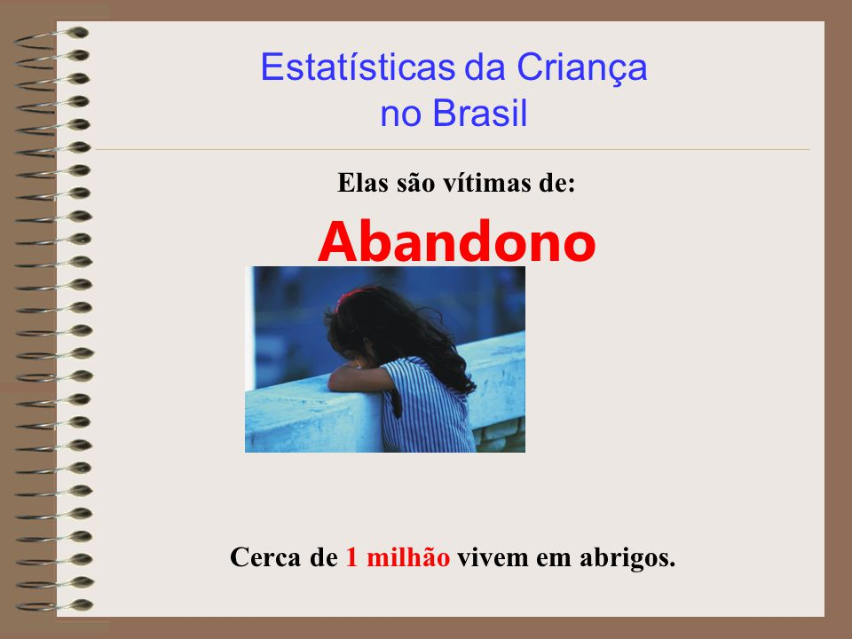 Estatísticas da Criança no Brasil Elas são vítimas de: Abandono Cerca de 1 milhão vivem em abrigos.