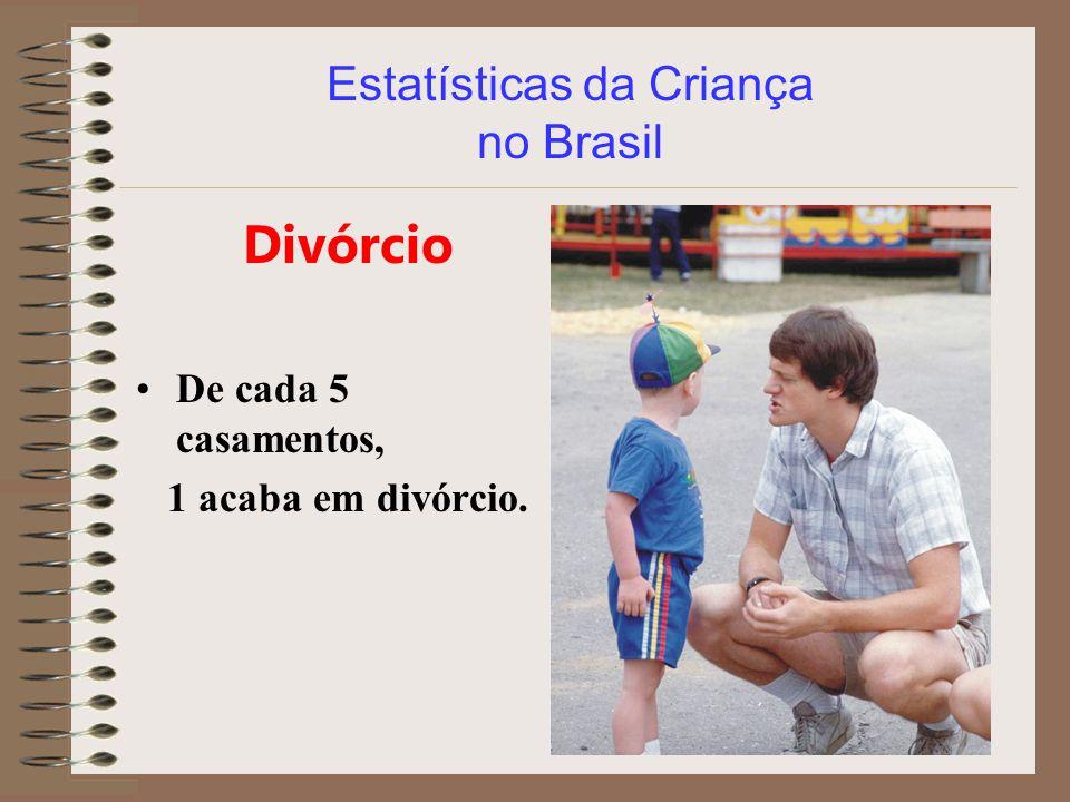 Estatísticas da Criança no Brasil Divórcio De cada 5 casamentos, 1 acaba em divórcio.